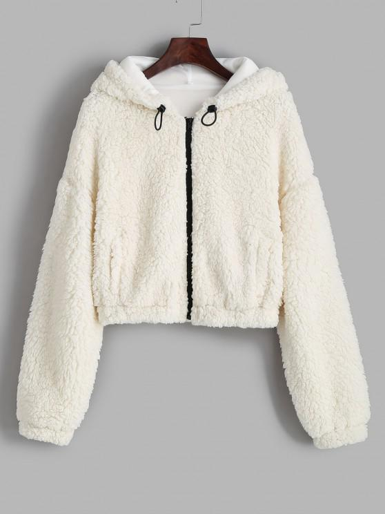 ZAFUL Hooded Drop Shoulder Pocket Teddy Coat - أبيض L