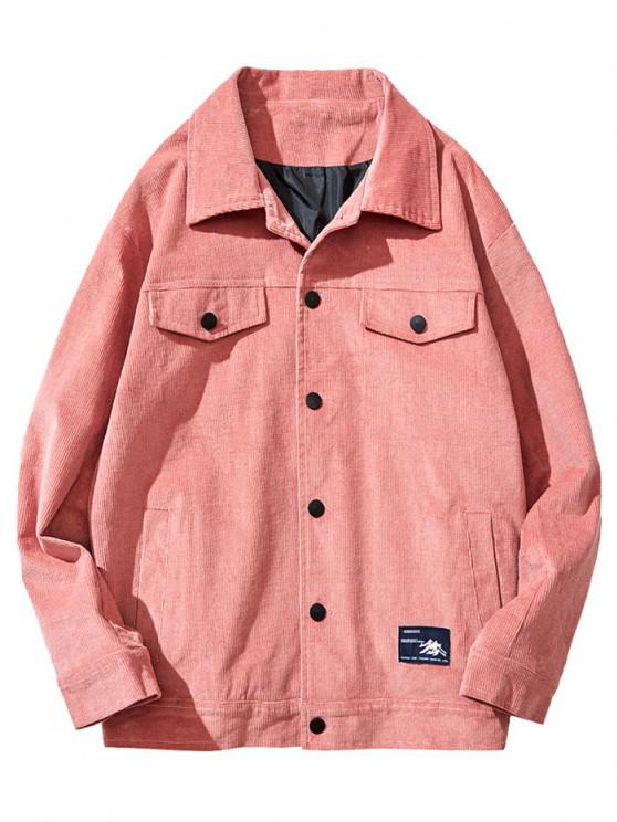 fancy Flap Mock Pocket Button Up Corduroy Jacket - RED XS