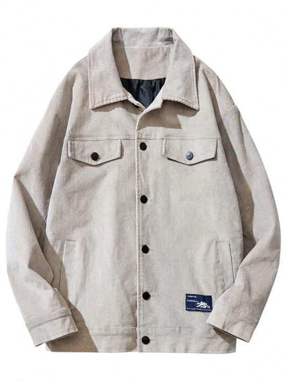 outfit Flap Mock Pocket Button Up Corduroy Jacket - GRAY 2XL