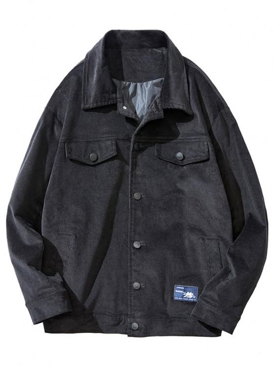 Flap Mock Pocket Button Up Corduroy Jacket - أسود S