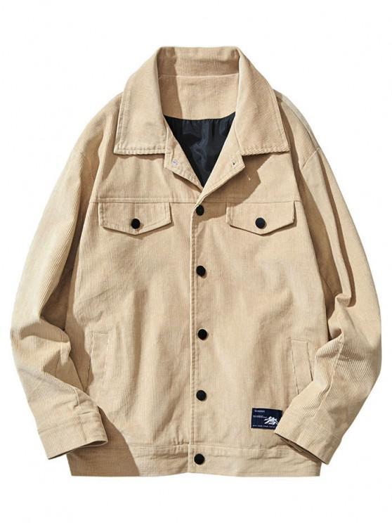 Flap Mock Pocket Button Up Corduroy Jacket - كاكي XS