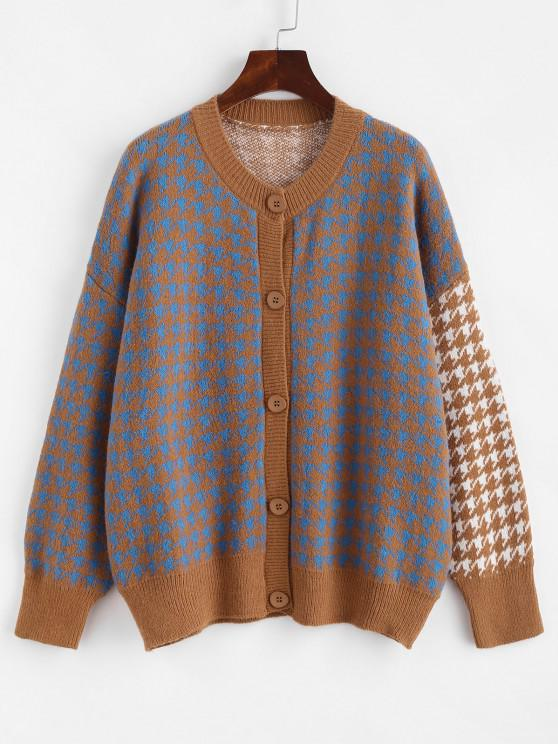 women's Crew Neck Button Up Houndstooth Cardigan - MULTI-A ONE SIZE