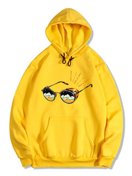 fancy Sunglasses Print Kangaroo Pocket Fleece Hoodie - YELLOW 2XL