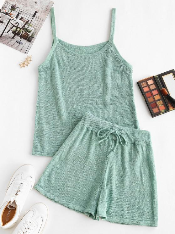 shops Knitted Cami Two Piece Shorts Set - LIGHT GREEN M