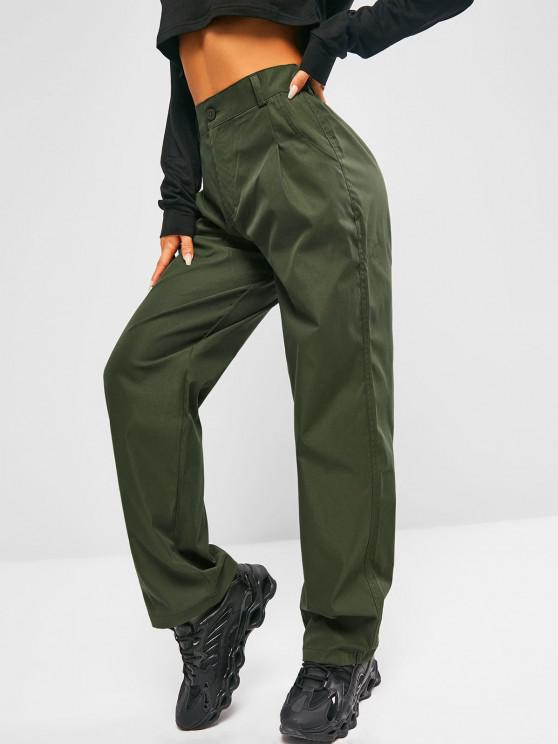trendy High Waisted Slant Pockets Straight Pants - HAZEL GREEN S