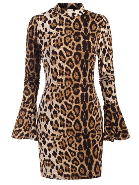 Leopard Mock Neck Long Sleeve Bodycon Dress - قهوة S