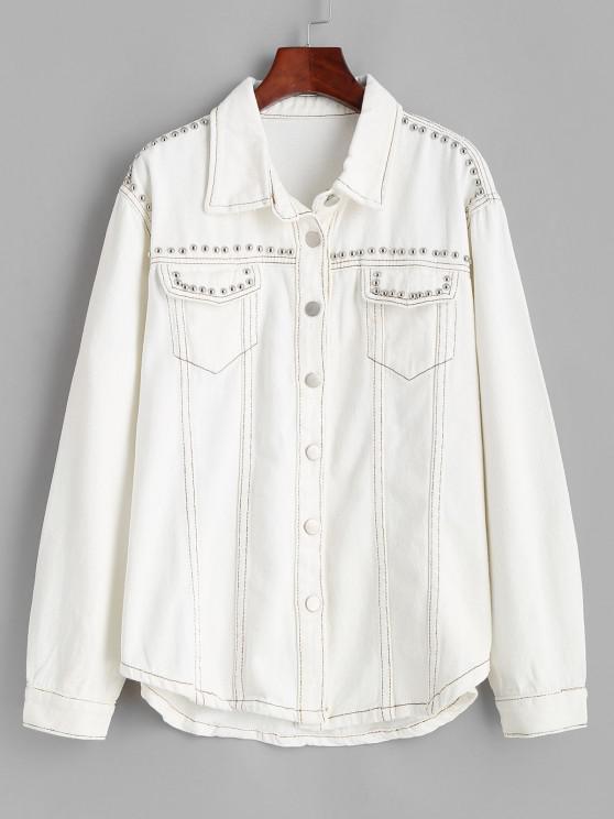 fashion Rivet Pocket Contrast Stitching Denim Jacket - WHITE XS