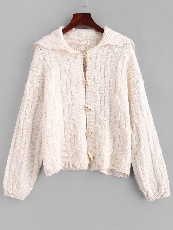 new Drop Shoulder Cable Knit Horn Button Cardigan - WARM WHITE ONE SIZE
