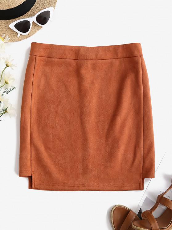 buy Faux Suede Bodycon Mini Skirt - TIGER ORANGE M