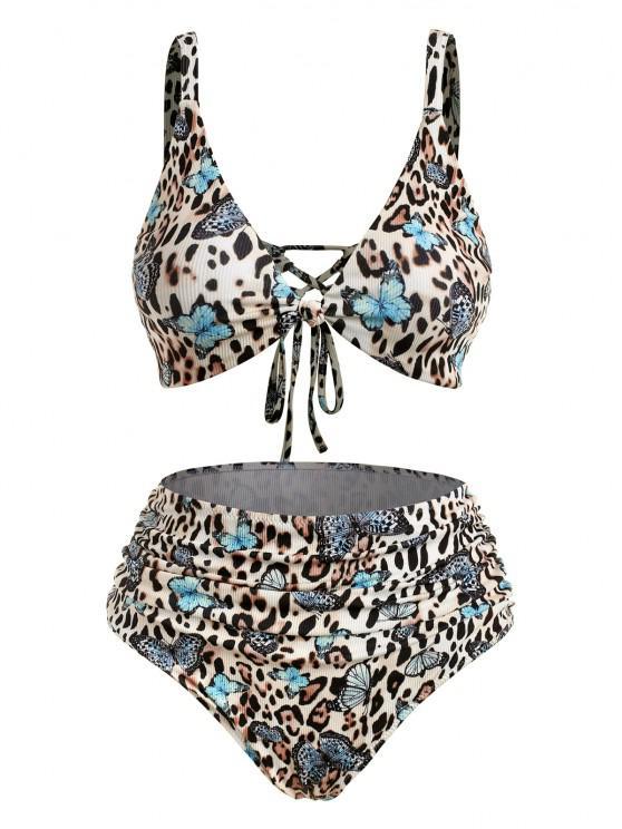 buy ZAFUL Plus Size Ribbed Leopard Butterfly Ruched Bikini Swimwear - MULTI XXL