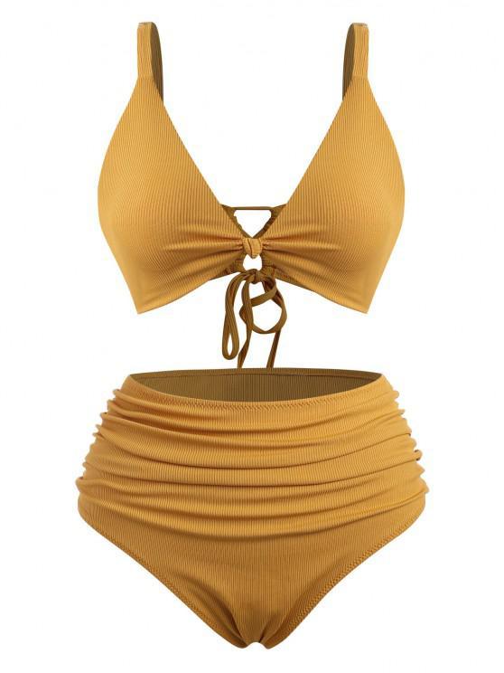 ZAFUL Verknotete Übergröße Bikini Badebekleidung mit Gerippten Rüschen - Dunkel gelb XL
