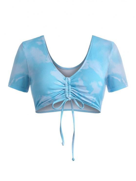 lady ZAFUL Plus Size Ribbed Tie Dye Cinched Swim Top - MULTI XXXXL