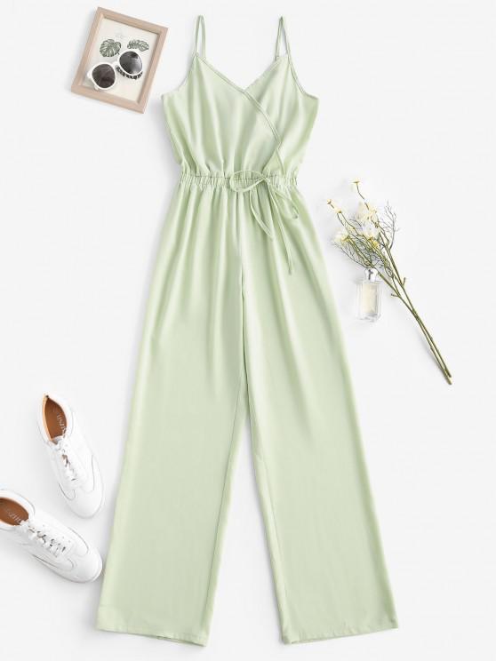 hot Cami Surplice Wide Leg Jumpsuit - LIGHT GREEN L