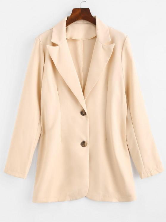 affordable Solid Longline Blazer - LIGHT COFFEE M