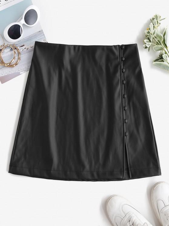 womens ZAFUL Faux Leather Loop Button Mini Skirt - BLACK M