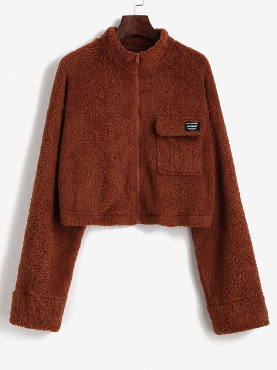 ZAFUL Letter Patch Drop Shoulder Plush Coat - بني داكن XL