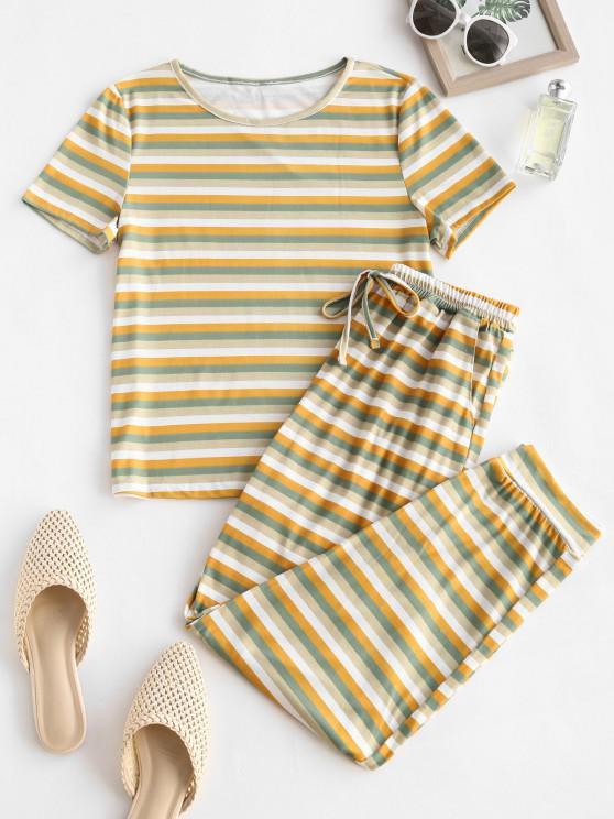 Striped Short Sleeve Pocket Tie PJ Set - متعدد XL