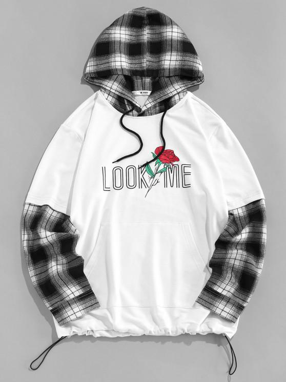 latest ZAFUL Look Me Rose Plaid Faux Twinset Hoodie - BLACK M