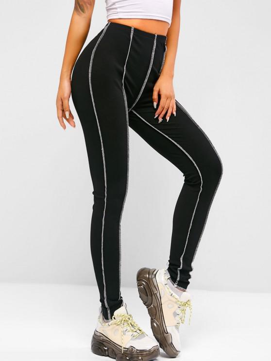 women's ZAFUL Ribbed Topstitching Leggings - BLACK S