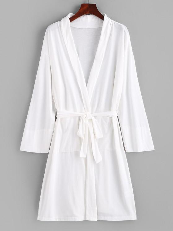 unique Open Front Pocket Longline Belted PJ Robe - WHITE S