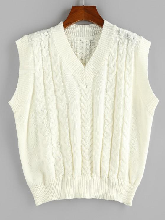 hot ZAFUL Cable Knit V Neck Ribbed Trim Sweater Vest - WHITE S
