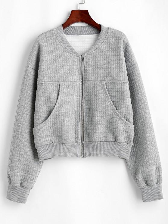 womens Drop Shoulder Pocket Zip Up Jacket - LIGHT GRAY L