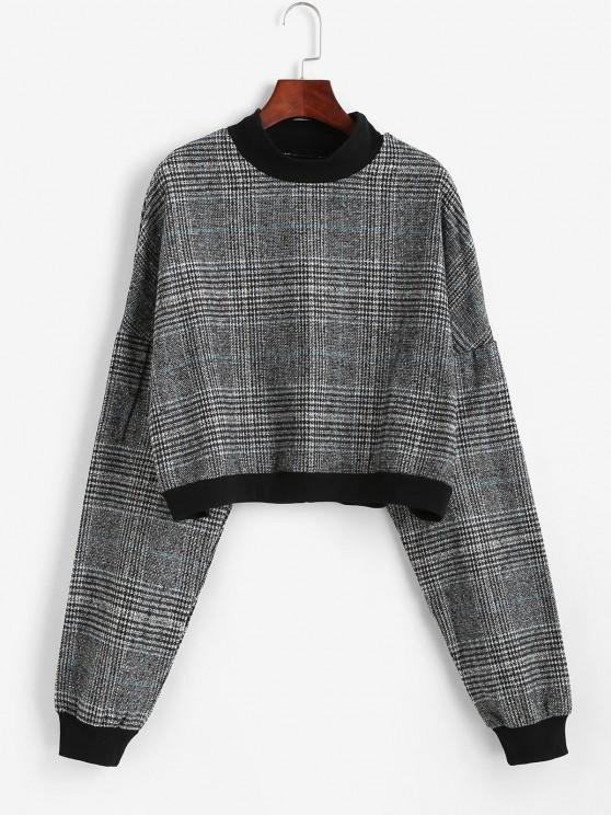 Plaid Print Batwing Sleeve Cropped Sweatshirt - اللون الرمادي S