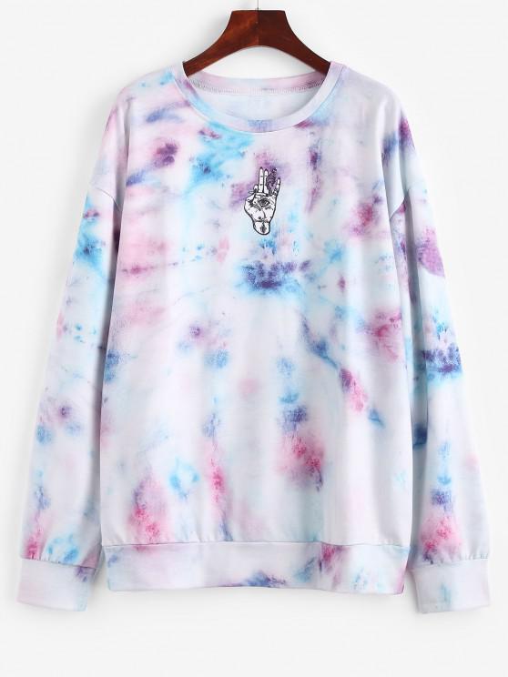 ladies Tie Dye Drop Shoulder Boyfriend Pullover Sweatshirt - MULTI S