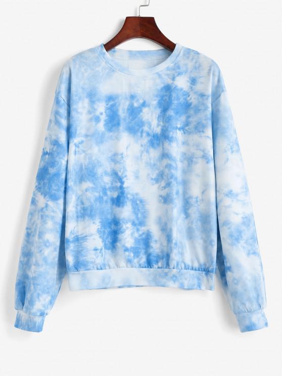 Sky Tie Dye Drop Shoulder Sweatshirt - أزرق فاتح XS