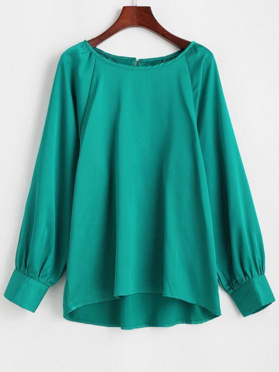 Satin Keyhole Back Raglan Sleeve Blouse - أخضر M