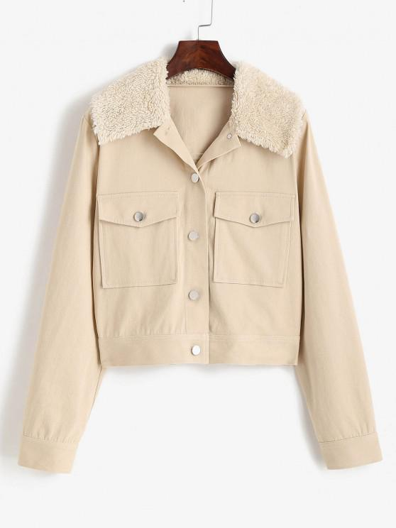 outfit ZAFUL Pocket Faux Shearling Collar Shirt Jacket - LIGHT COFFEE S