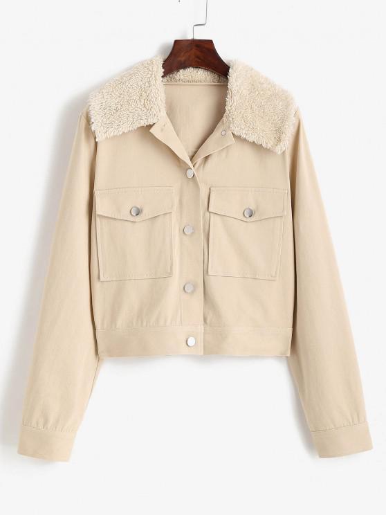 trendy ZAFUL Pocket Faux Shearling Collar Shirt Jacket - LIGHT COFFEE M