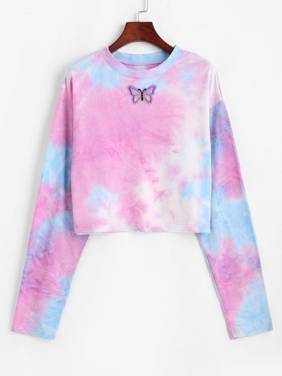 hot Tie Dye Print Butterfly Embroidered Sweatshirt - MULTI M