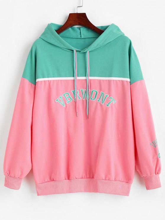 Letter Embroidered Colorblock Oversize Hoodie - متعددة-A L