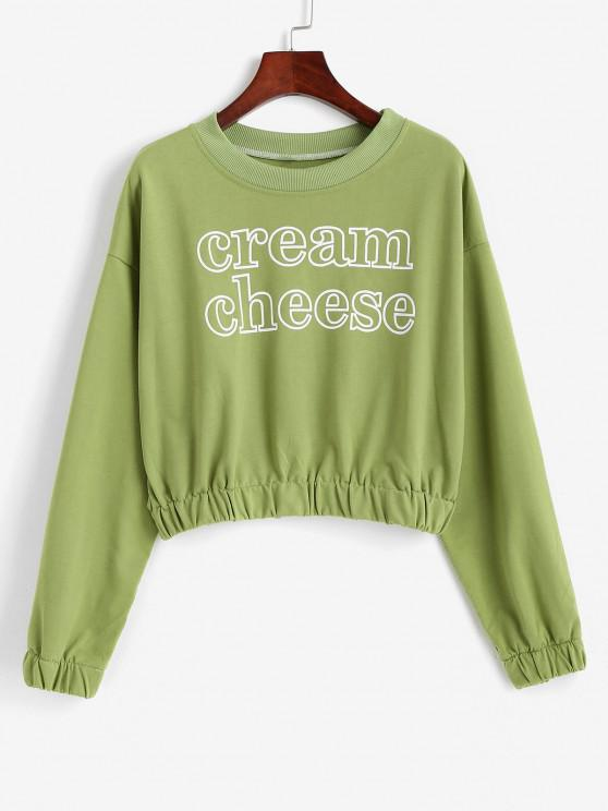 chic Crew Neck Cream Cheese Graphic Sweatshirt - GREEN ONION M