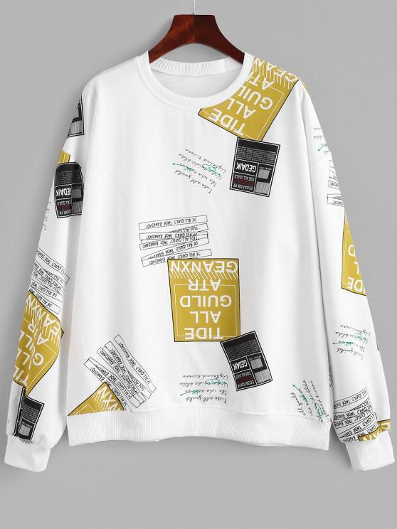 Crew Neck Letter Graphic Oversize Sweatshirt - أبيض XL