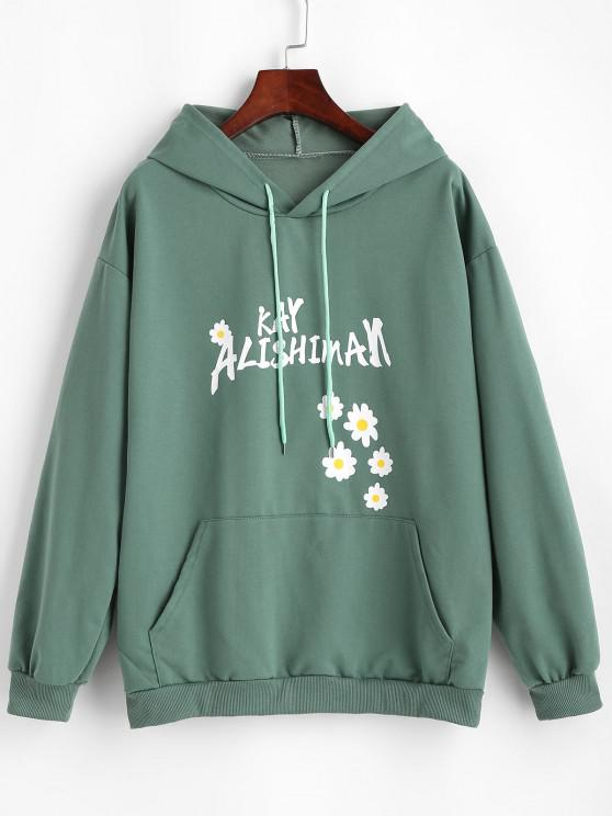 latest Front Pocket Daisy Letter Graphic Oversize Hoodie - GREENISH BLUE M