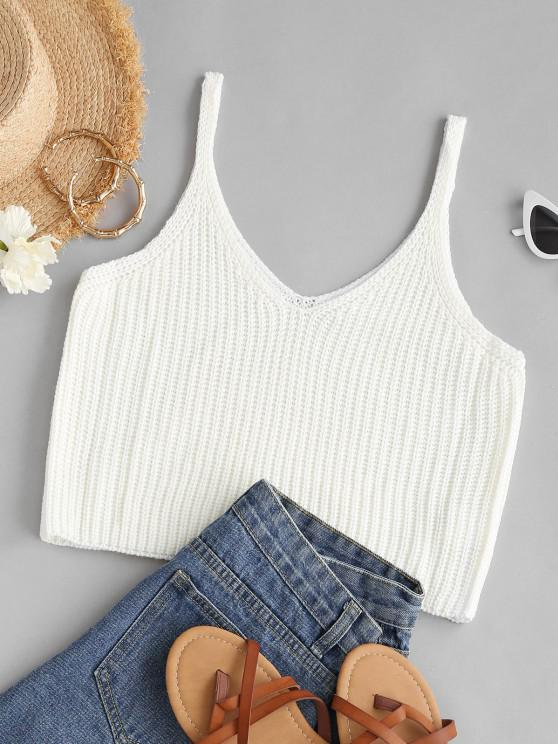 new V Neck Crop Sweater Tank Top - WHITE ONE SIZE
