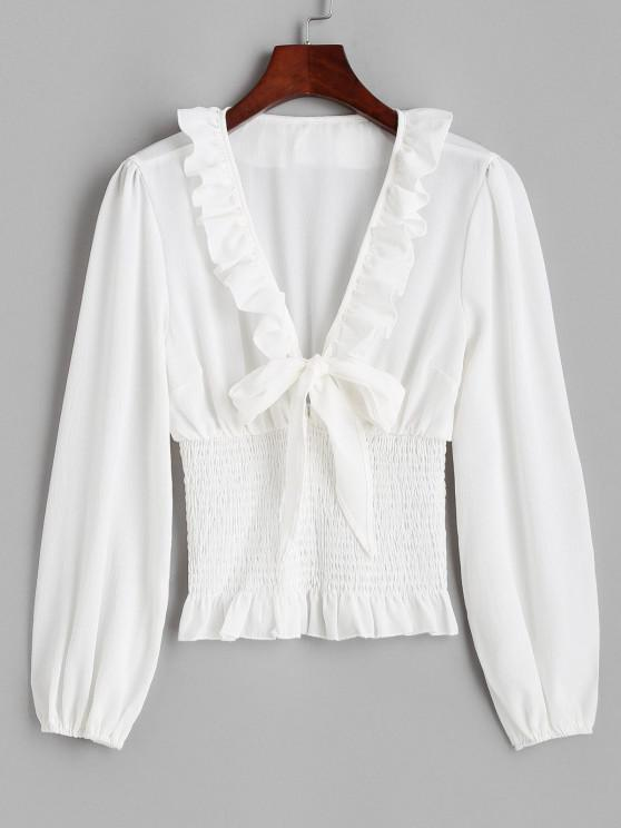 Ruffle Knotted Smocked Plunge Blouse - أبيض L