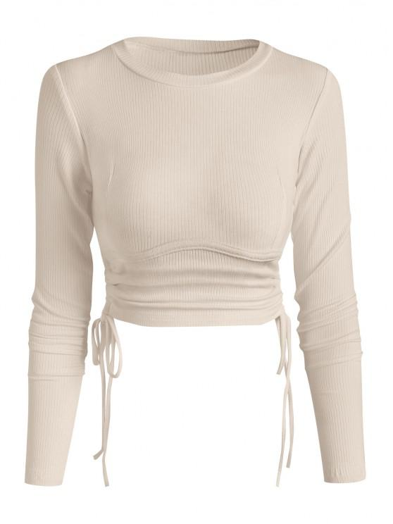 womens Ribbed Side Cinched Crop Top - LIGHT COFFEE M