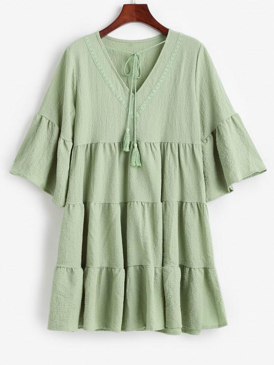 shop Flare Sleeve Seersucker Tiered Smock Dress - LIGHT GREEN L