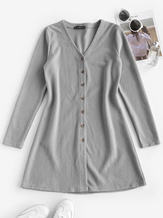 chic ZAFUL Long Sleeve Button Up Ribbed Mini Dress - LIGHT GRAY M