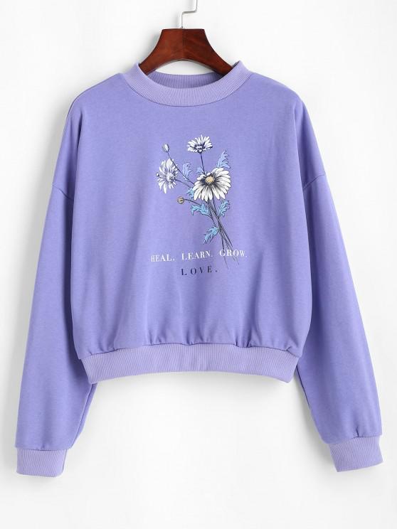 ladies Floral HEAL LEARN GROW Graphic Sweatshirt - PURPLE MIMOSA M