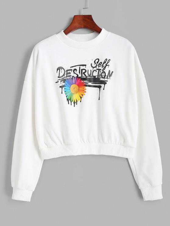 shops Mock Neck Splatter Letter Floral Graphic Sweatshirt - WHITE M
