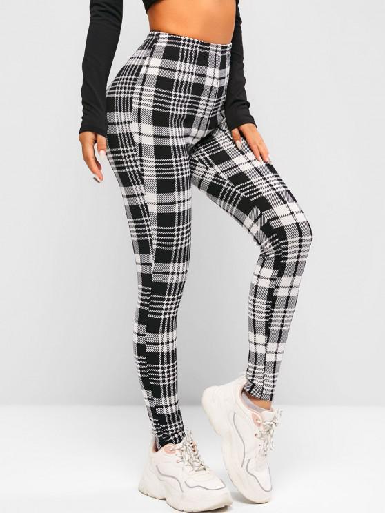 new ZAFUL Plaid Zipper Embellished Skinny Pants - WHITE M