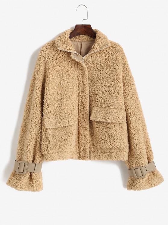 outfits ZAFUL Drop Shoulder Pocket Buckle Cuffs Teddy Coat - COFFEE XL