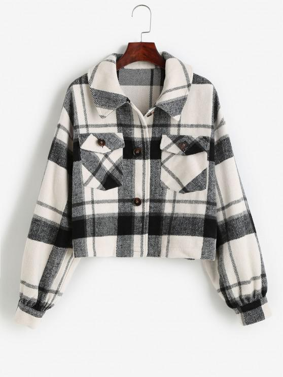 shop ZAFUL Pockets Single Breasted Plaid Jacket - BLACK XL