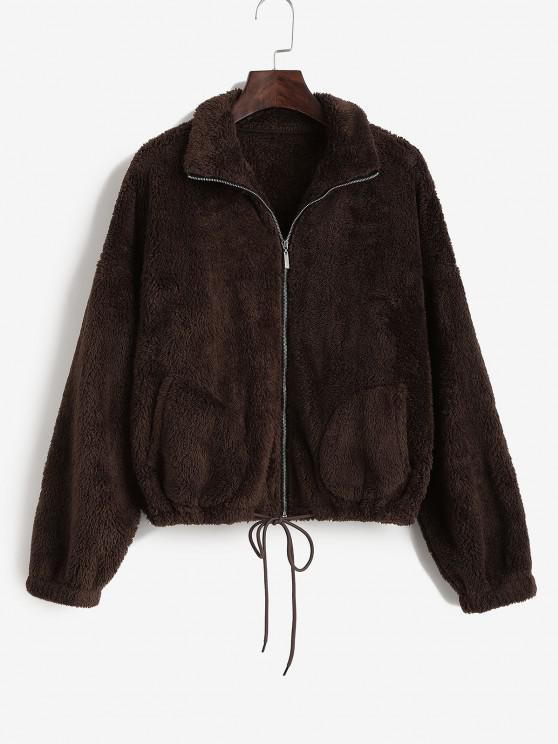 lady ZAFUL Drop Shoulder Fluffy Plush Coat - DEEP COFFEE L