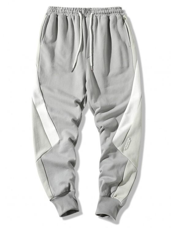 shop Colorblock Panel Casual Jogger Sweatpants - GRAY XS