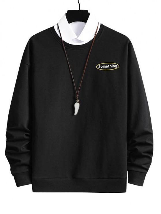 new Crewneck 2 In 1 Put In Something Graphic Sweatshirt - BLACK XS